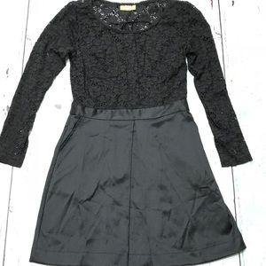 Princess Vera Wang Long-Sleeve Lace Black Dress